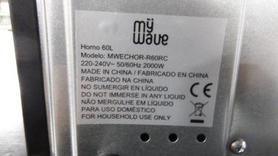 HORNO ELÉCTRICO 60L 2000W.
